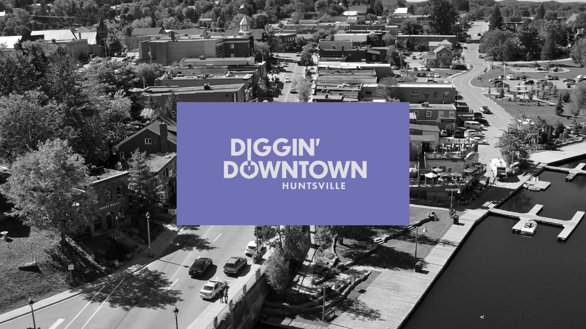 aerial view of buildings in huntsville's downtown core