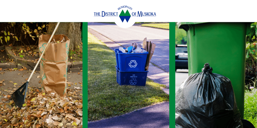 leaf and yard waste, a stacked blue box and a bag of garbage sitting beside a green bin